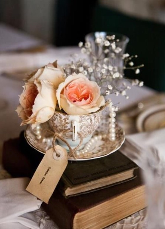 teapcup wedding centerpieces for vintage weddings