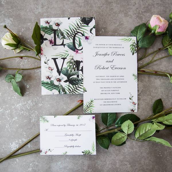 two side printed green floral wedding stationery