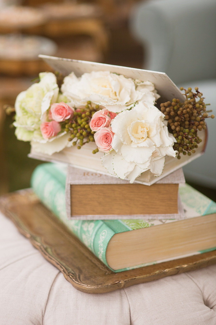 vintage book decor for wedding reception
