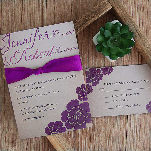 vintage purple ribbon wedding invitation