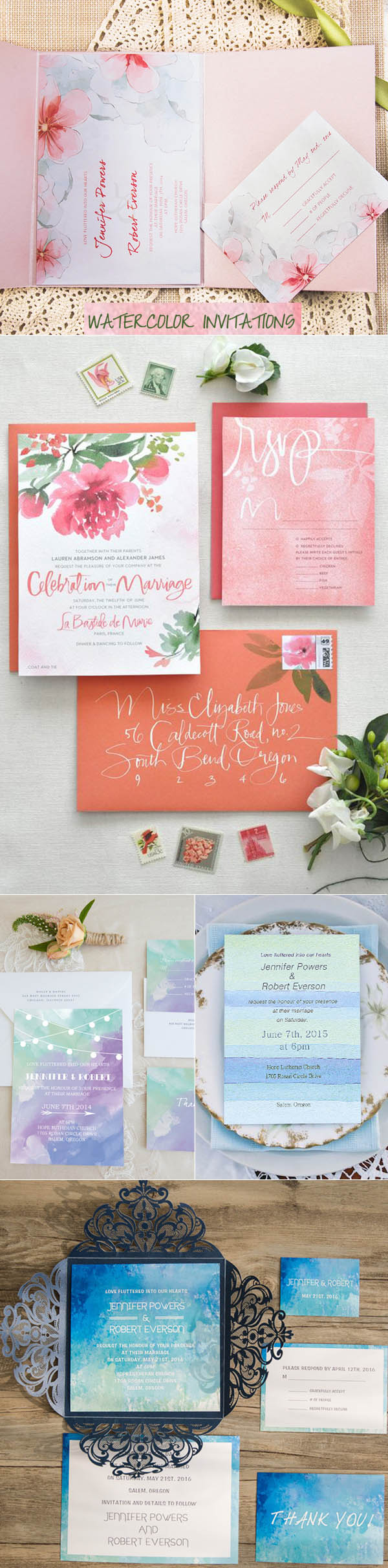 beautiful watercolor wedding invitations trends