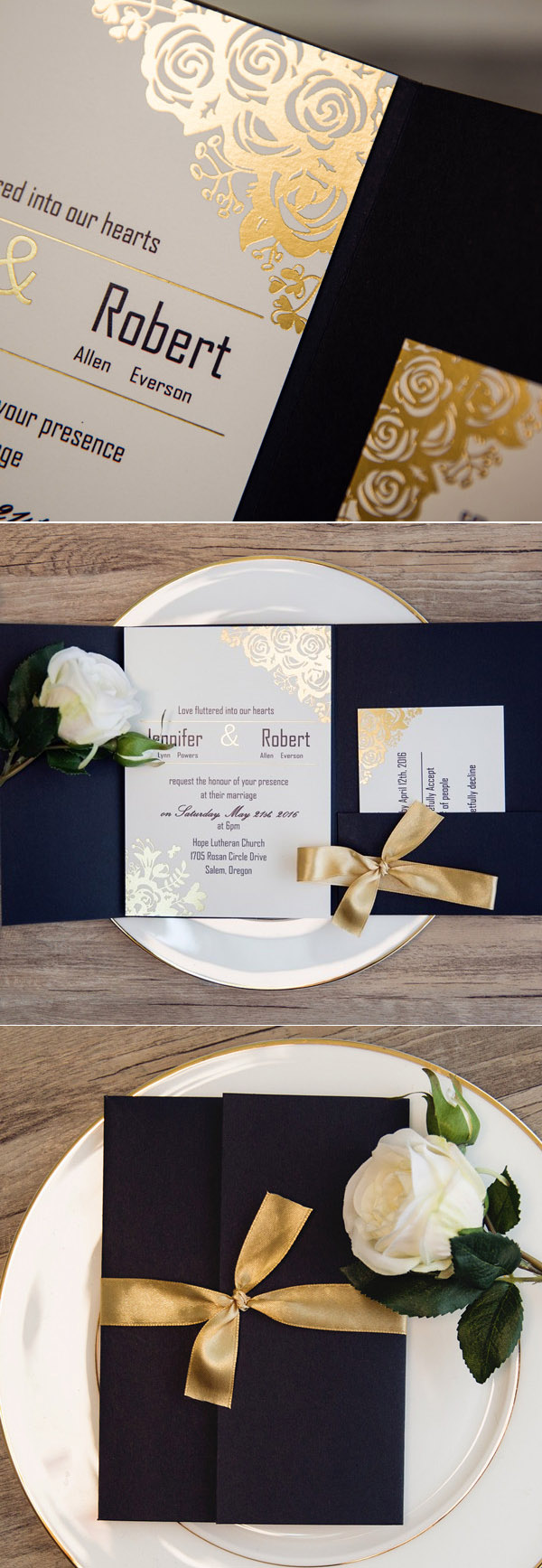 black and gold gltter foil wedding invitations