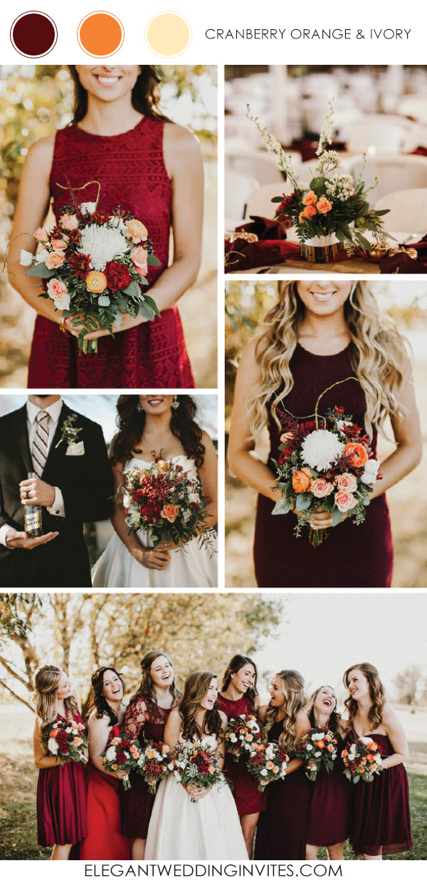cranberry and orange wedding color ideas for fall 2017