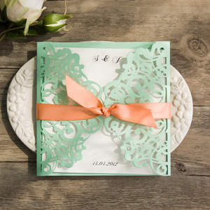 elegant green and peach wedding colors inspired laser cut wedding invitations for 2017