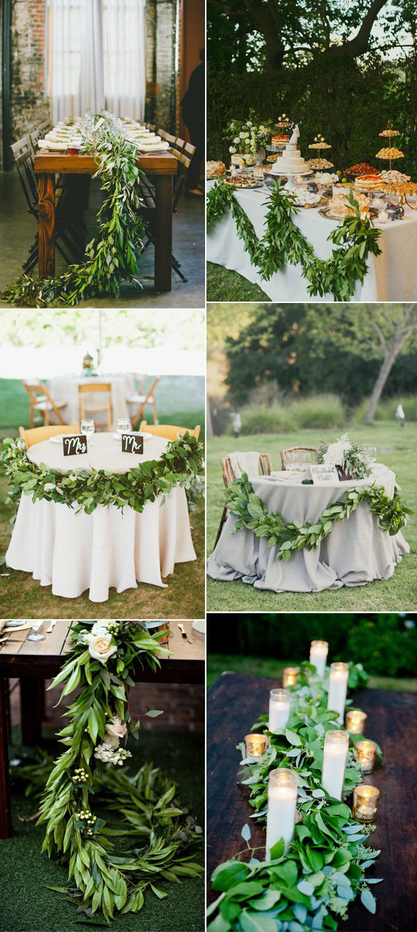 greenery garland wedding runner inspiration