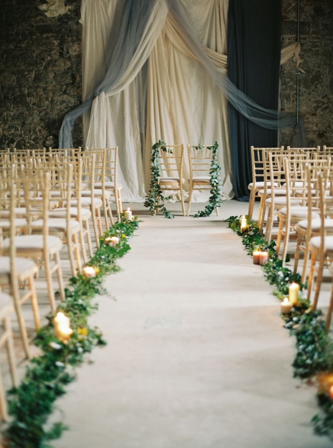 greenery wedding aisle runner