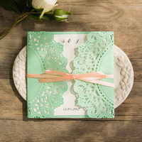 mint and peach wedding invitation