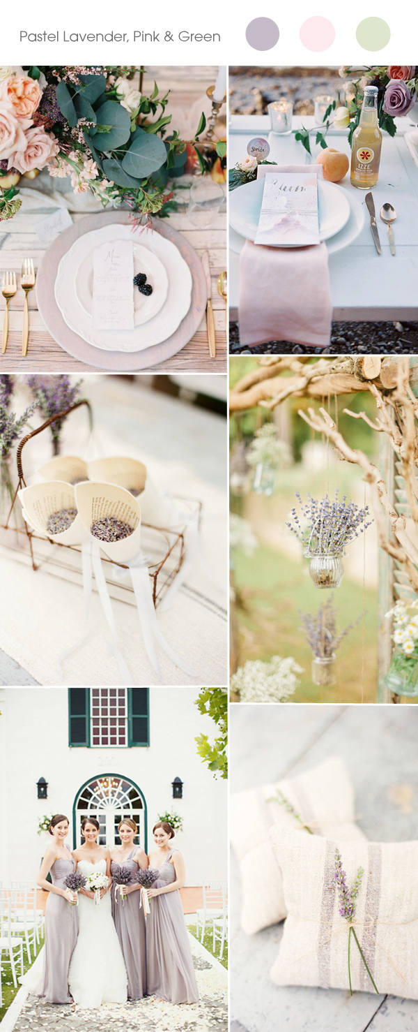 pastel lavender, pink and green wedding color inspiration ideas