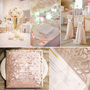 pink and gold metallic laser cut wedding invitations
