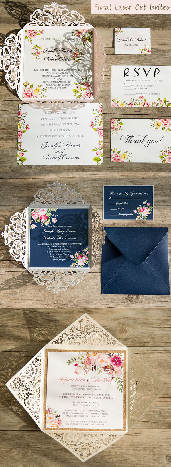 romantic laser cut floral wedding invitations trends for 2017