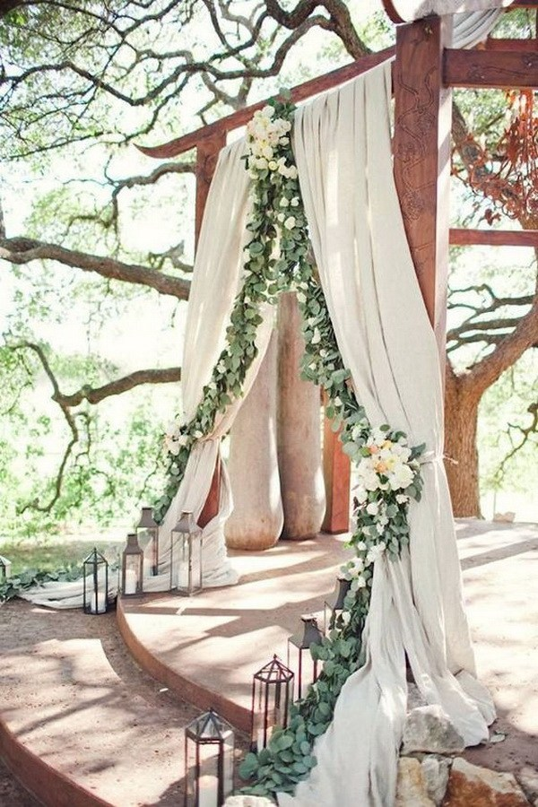 2017 wedding trends top 30 greenery wedding decoration ideas rustic wedding arch ideas with white and green floral junglespirit Images
