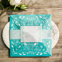 teal lace cut wedding invitation