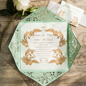 vintage mint green laser cut wedding invitations