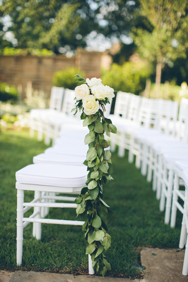 2017 wedding trends top 30 greenery wedding decoration ideas white ceremony chairs with green and white floral decorations junglespirit Choice Image