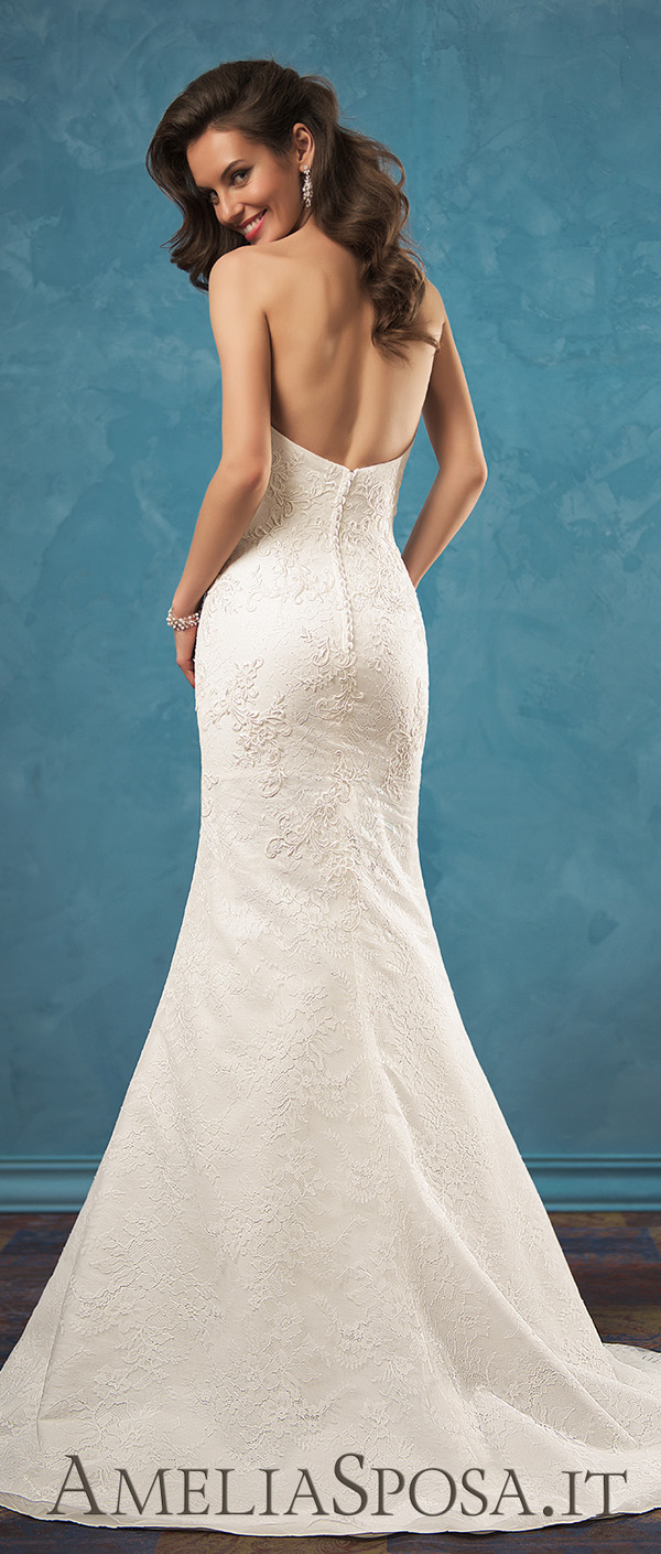 Amelia Sposa strapless sweetheart low back wedding gown Bruna