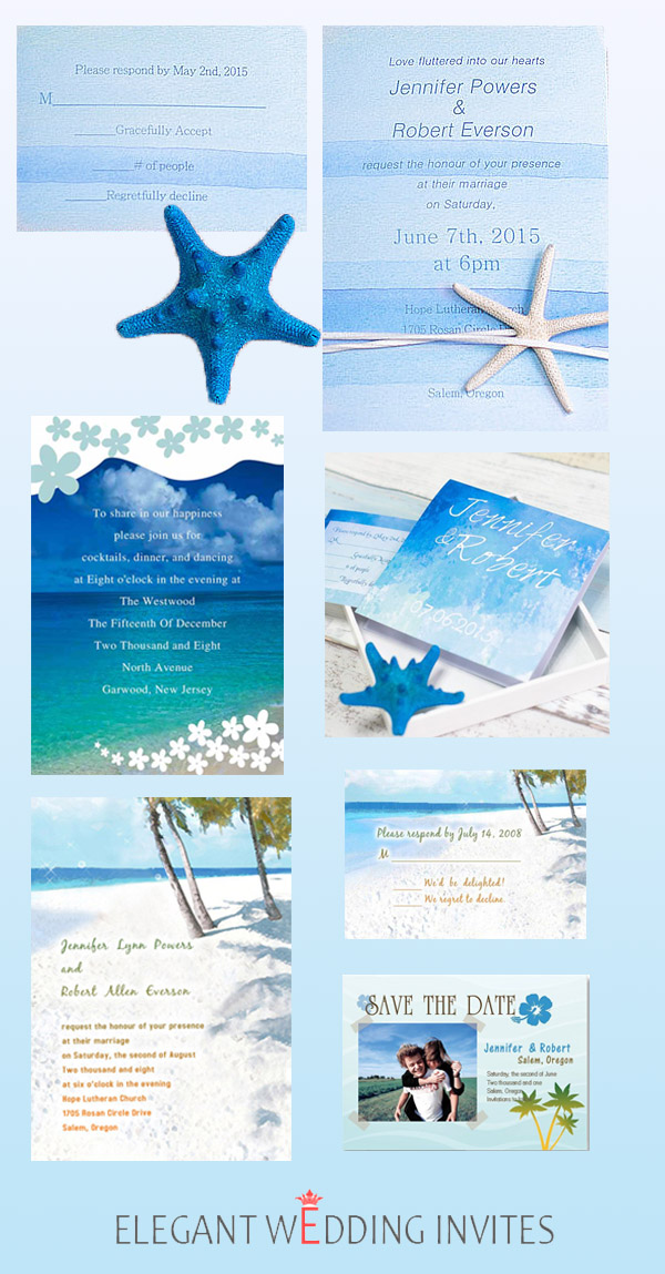 Beach Wedding Invitations with Starfish for 2017 Summer