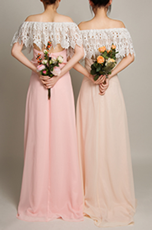 Bohemian 3 in 1 Dusty Pink Lace Covered Backless Bridesmaid Dress