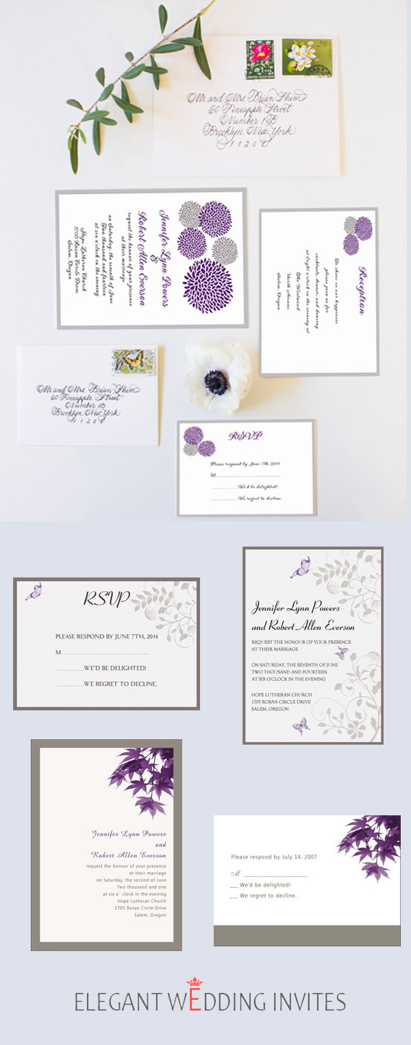Rustic Inspired Wedding Invitations in Purple and Grey
