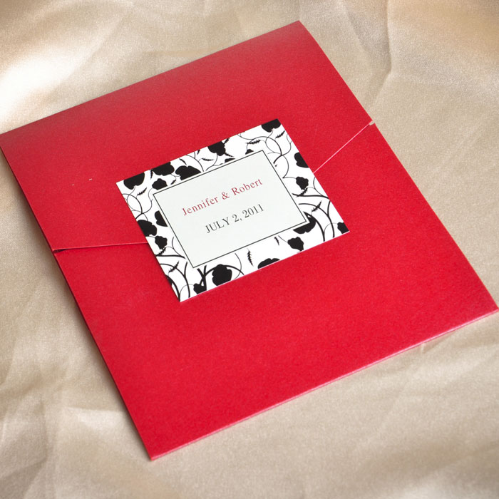affordable modern red and black pocket wedding invitation kits