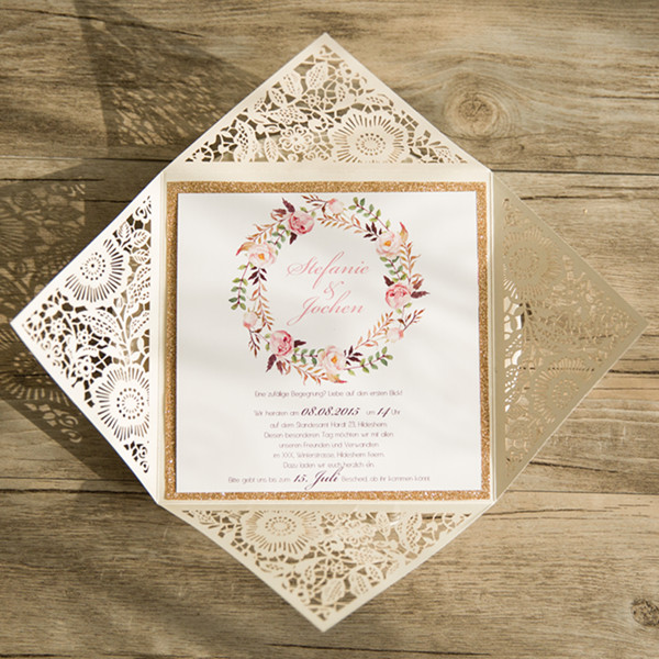 boho flower glittery gold laser cut wedding invitations