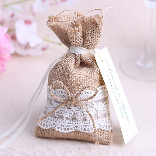 burlap and lace rustic wedding favor bags