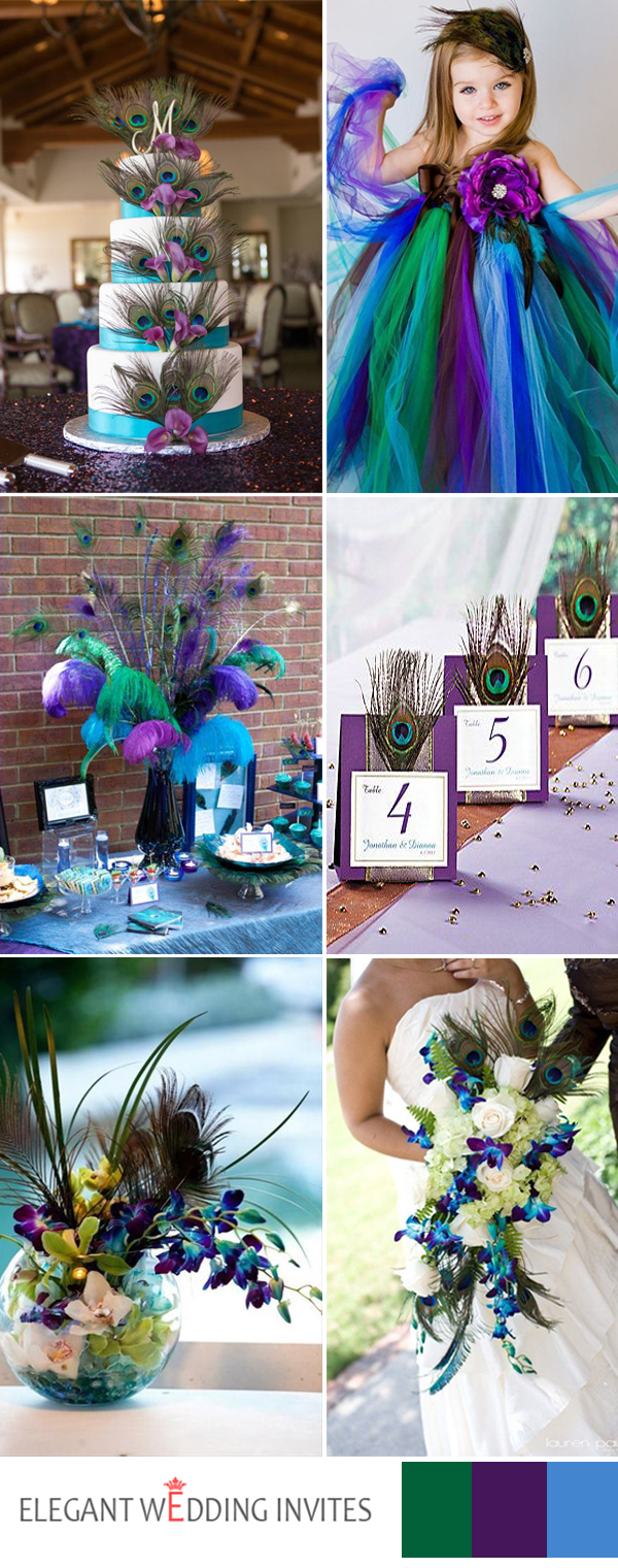 colorful peacock  themes wedding ideas