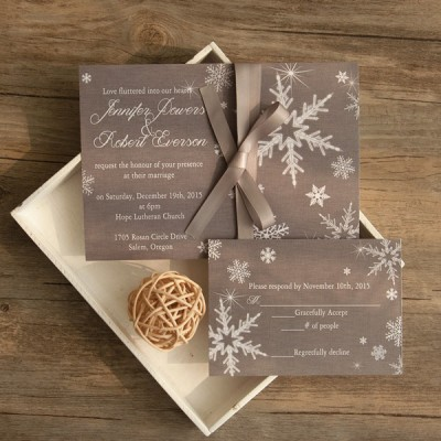 elegant grey winter wedding invitations