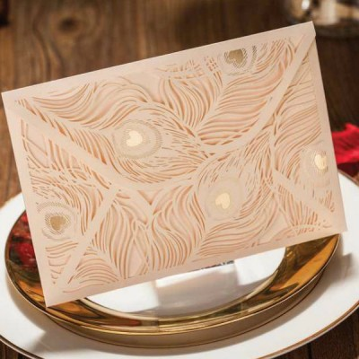 elegant ivory peacock gold laser cut wedding invitations