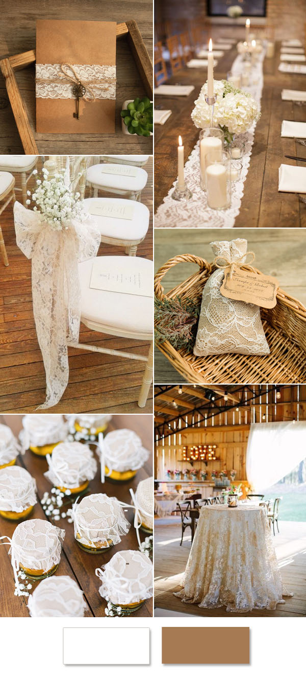 elegant lace rustic barn wedding ideas
