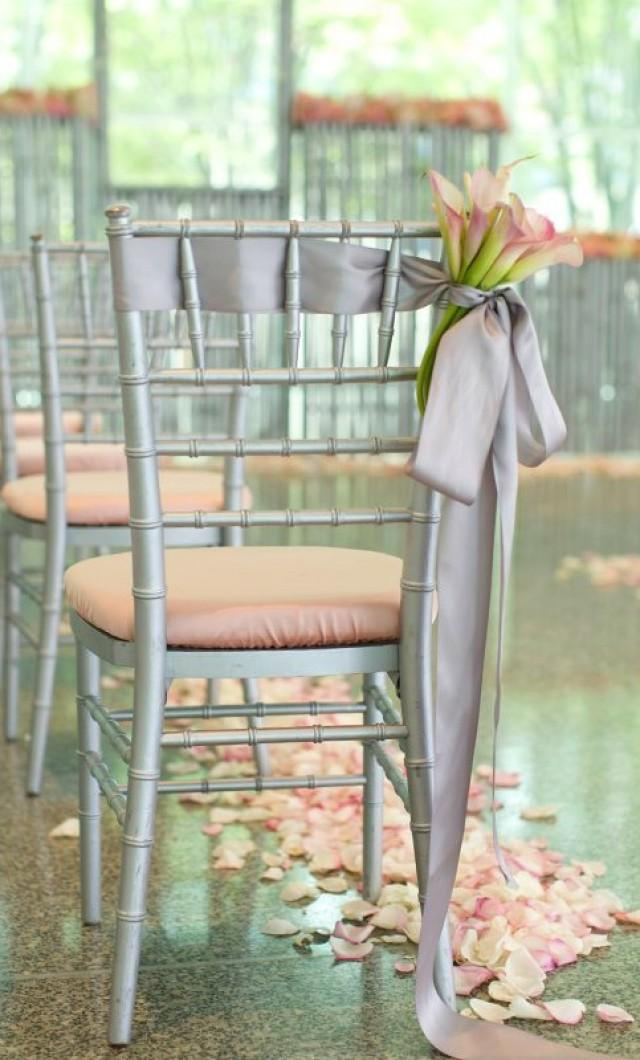 elegant pink and silver ribbon wedding chair ideas