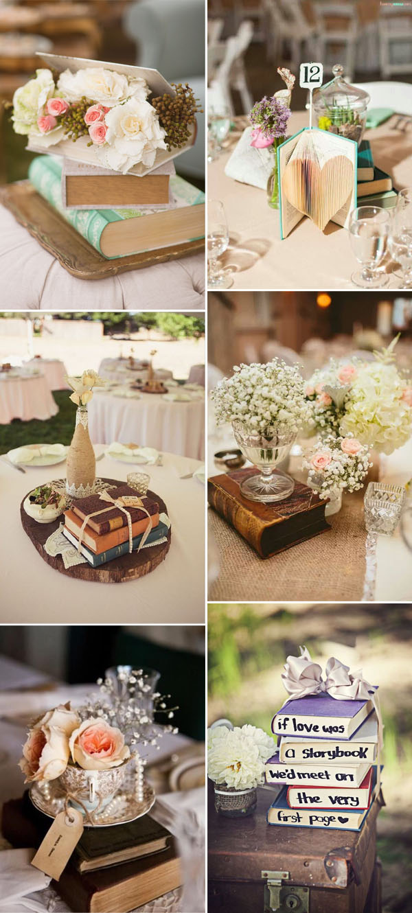 50 creative ideas to add vintage charm to your wedding decorations genius vintage book wedding decorations ideas junglespirit Image collections