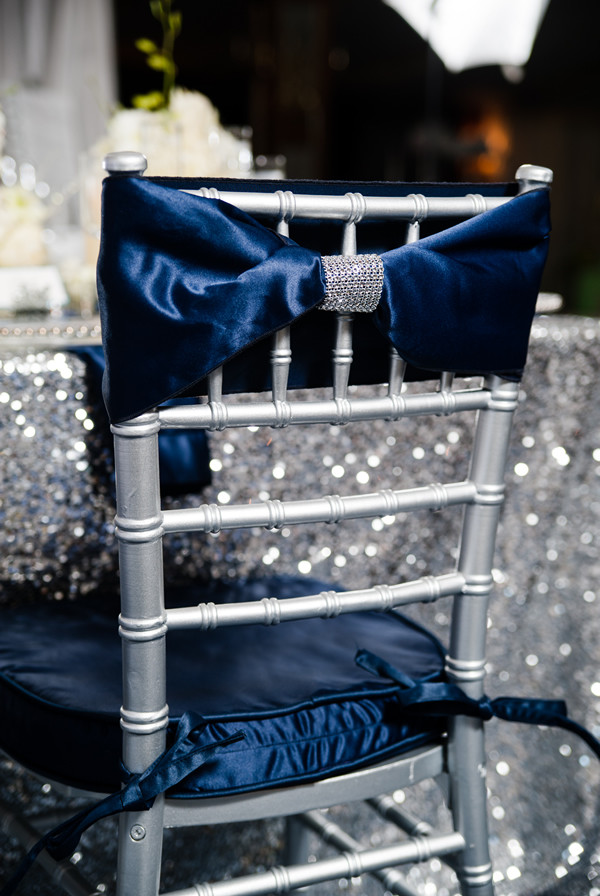 gorgeous sapphire satin wedding chair covers