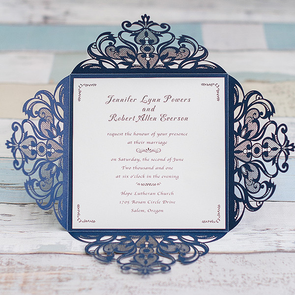 graceful navy blue laser cut wedding invite