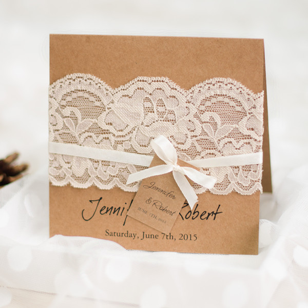 graceful vintage rustic folded wedding invitations lace