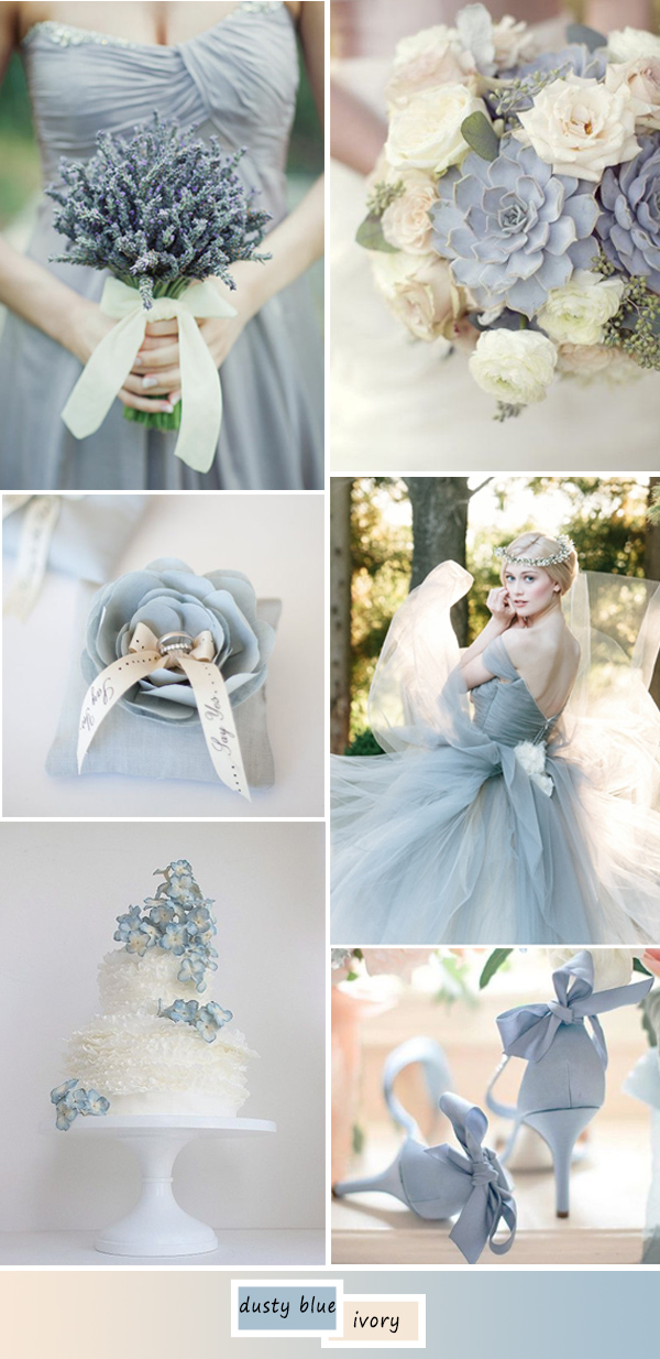 hot wedding color ideas in dusty blue