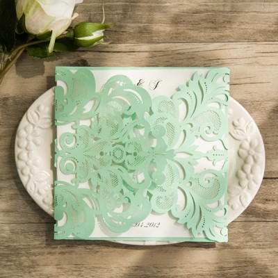 inexpensive mint green laser cut wedding invitations