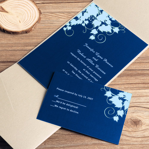 inexpensive navy blue winter pocket wedding invitation cards