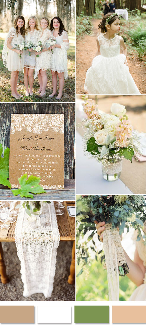 lace and rustic outdoor simple wedding ideas