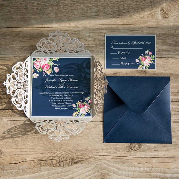 navy blue floral silver laser cut invitations