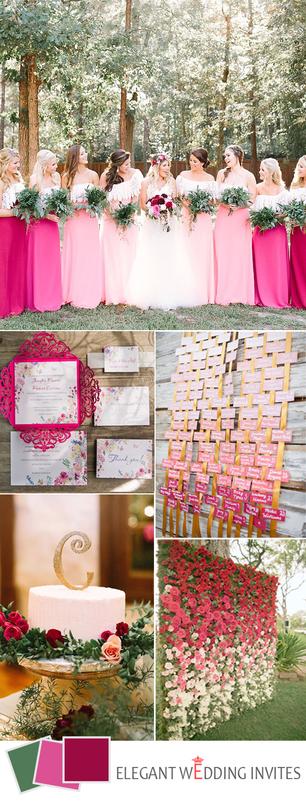 ombre pink boho wedding color ideas for 2017 spring