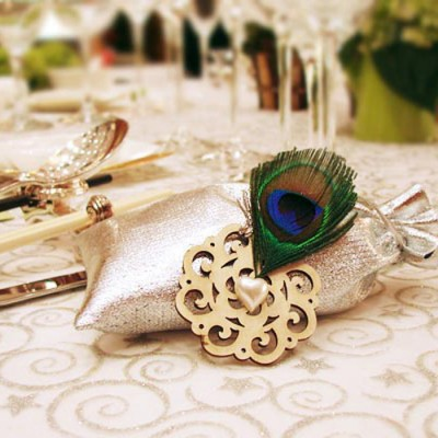 peacock silver wedding favor bridal shower gift bags