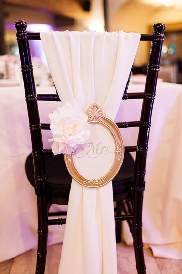 pink shash and frame wedding chair decor ideas
