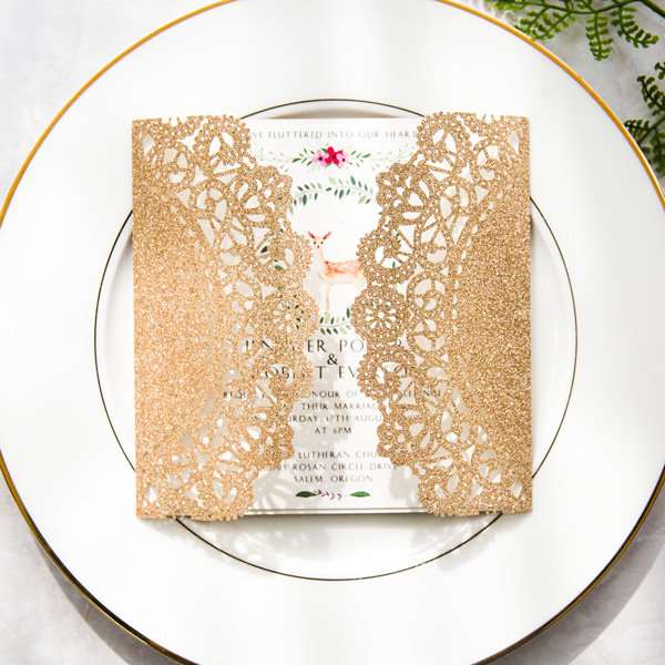 rose gold glittery boho floral laser cut wedding invitations