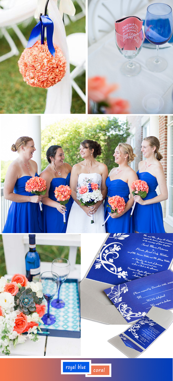 royal blue and coral wedding color ideas for 2017 trends
