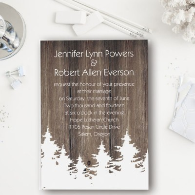 rustic barnwood winter pine tree wedding invitation