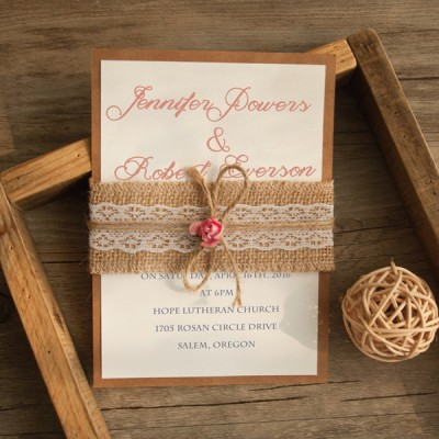 rustic burlap and lace layered wedding invitation