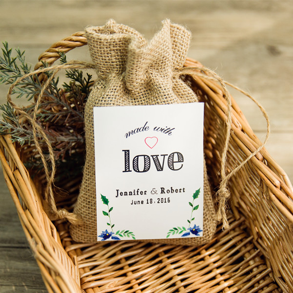 rustic burlap favor bags with personalized love tags