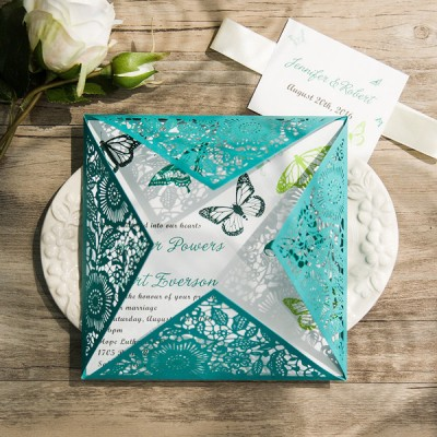 shades of green summer butterfly teal laser cut invitations