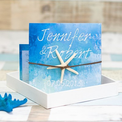 starfish folded beach summer wedding invitation