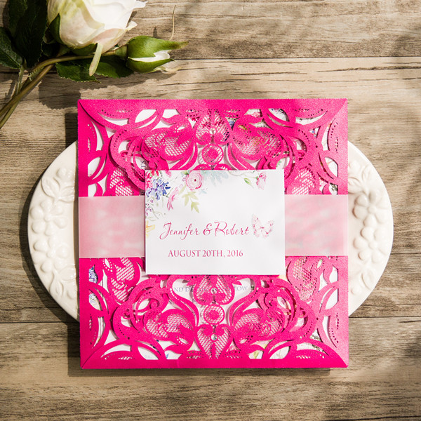 tropical hot pink floral laser cut wedding invitations